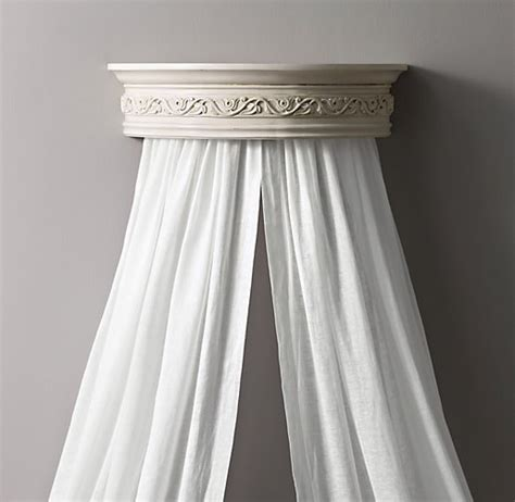 Wall Mounted Bed Canopy Heirloom White Demilune Carved Wood Canopy Bed Crown
