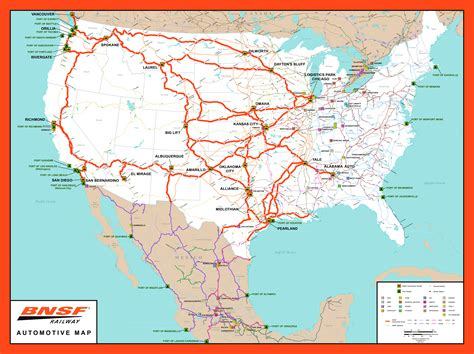 map of railroad tracks in usa rail network maps bnsf