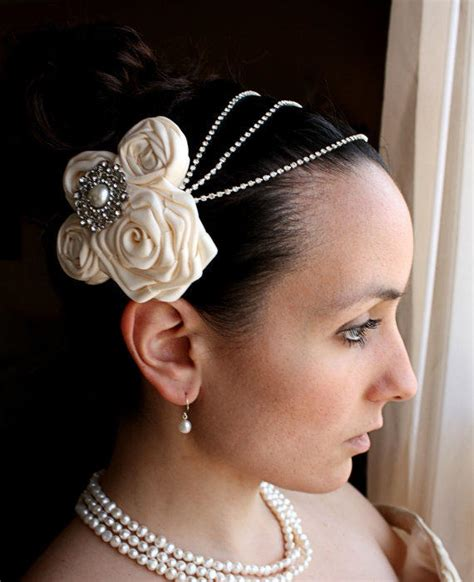 make a gatsby hair peice evelyn ivory satin flowers and from lesboutique on etsy