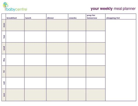 printable meal plan calendar meal plan template google search coach pinterest