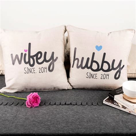 Wedding Anniversary Hubby by Personalised Set Of 2 Cushions Hubby
