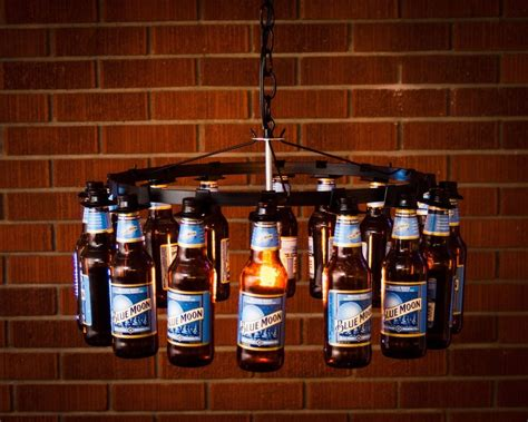 Beer Chandelier Diy Beer Bottle Chandelier No Wiring Beer Rack Chain Light