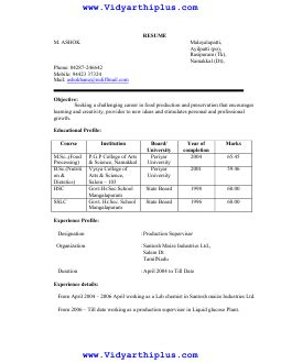 sle resume format for pg students m sc food processing resume format and sle