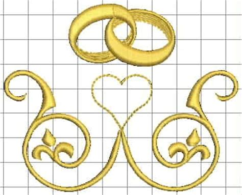 Wedding Ring Machine Embroidery Design by Izyaschnye Wedding Rings Machine Embroidery Designs