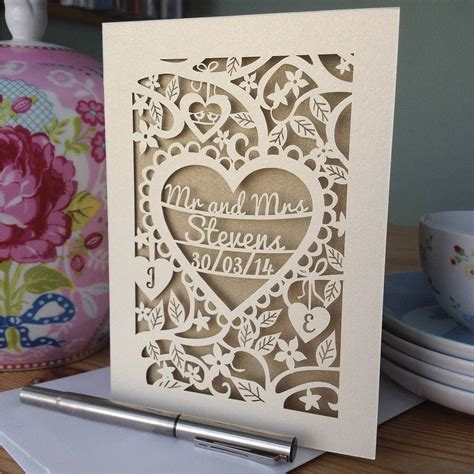 personalised wedding card personalised papercut wedding card by pogofandango