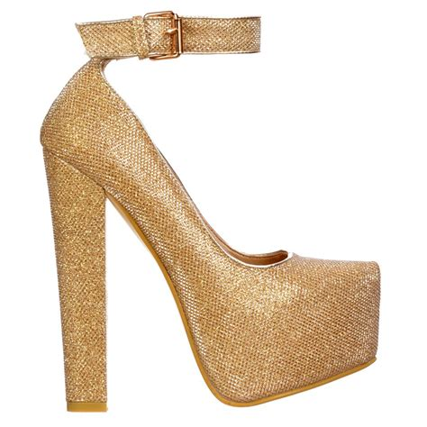 silver and gold high heels shoekandi block glitter high heel ankle with