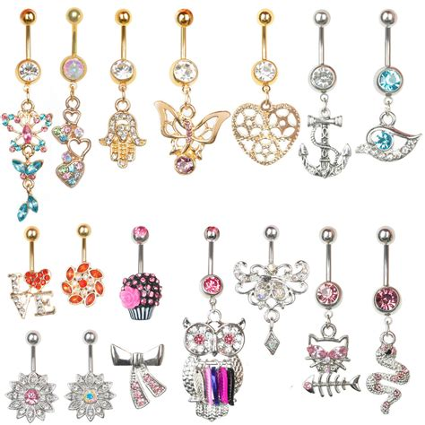Novo The Newest Bling by Novo 1pc 14g Strass Piercing Do Corpo Umbigo