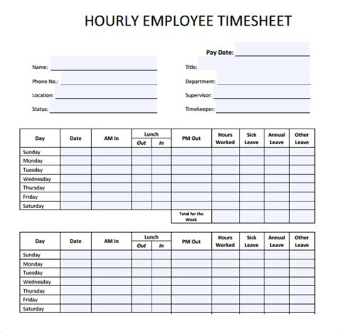 daily timesheet template employee hourly timesheet