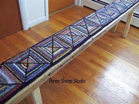 Rug Bench by Three Sheep Studio Rug Hooked Bench