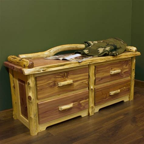 end of bed chest red cedar 4 drawer log sitting chest bedrooms the o