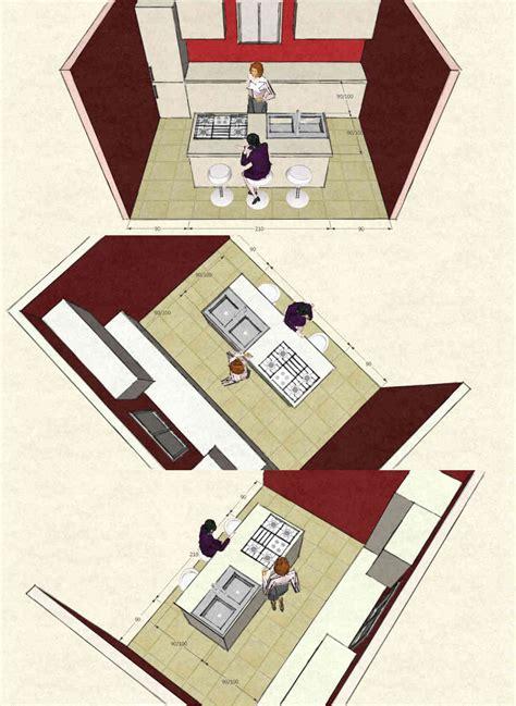 cucina piano cottura cucina con isola o penisola immagini 3d con dimensioni