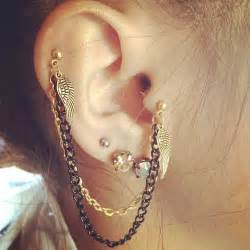 ear earings piercings chain ear earring image 527673 on favim