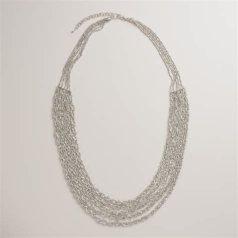 twisted silver multi strand beaded necklace world market
