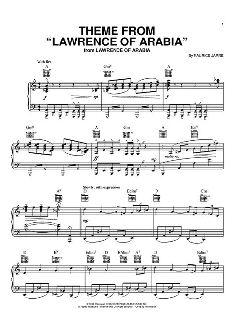 theme music lawrence of arabia theme from lawrence of arabia sheet music for piano