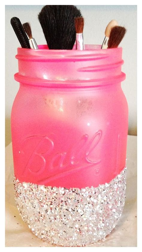 jar crafts diy painted and glitter dipped jar as a makeup brush