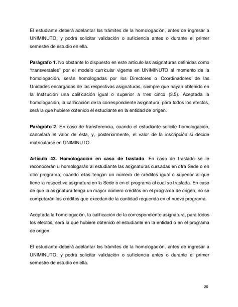 Modelo Curricular Uniminuto Reglamento Estudiantil Uniminuto