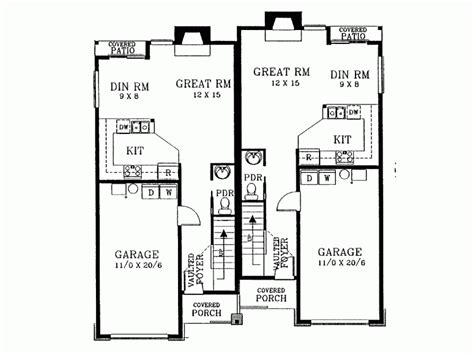 duplex narrow lot floor plans eplans new american house plan narrow lot duplex front