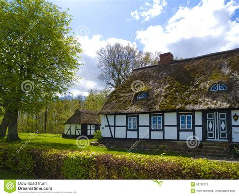 country side farm house old rustic countryside farmhouse with thatched roof stock photo image 53782072