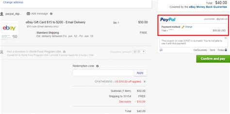 Paypal Gift Card Ebay - get 10 off 50 purchases sitewide on ebay 50 ebay gift card for just 40 or 100