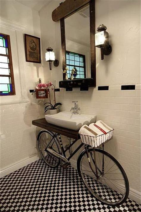 creative bathroom bicycle sink cozy bliss