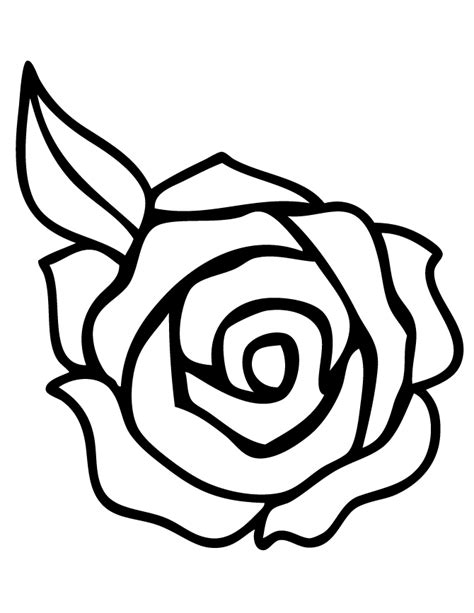rose coloring pages easy rose with leaf coloring page free printable coloring