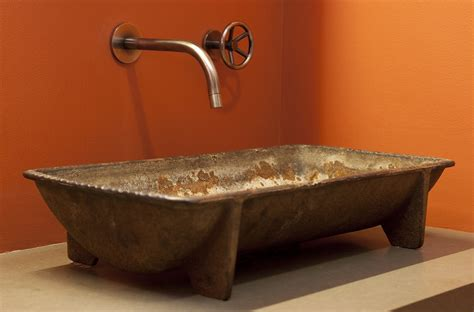 artistic bathroom sinks kohler cast iron sink bathroom industrial with bold colors