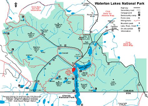 map of lakes in canada waterton lakes national park canada area map