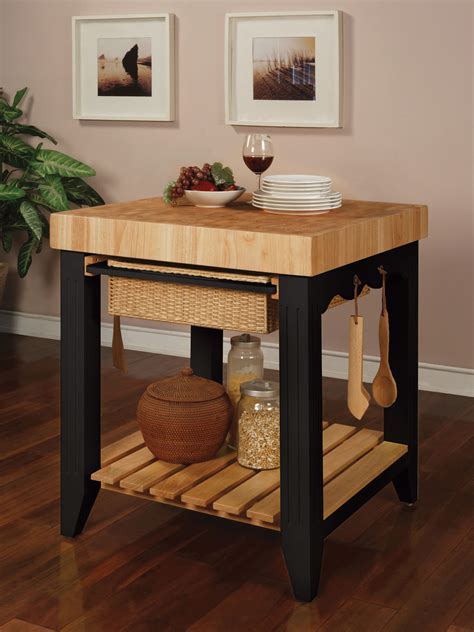 Kitchen With Butcher Block Island | powell color story black butcher block kitchen island 502 416