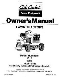 cub cadet lawn mower 1320 user s guide manualsonline