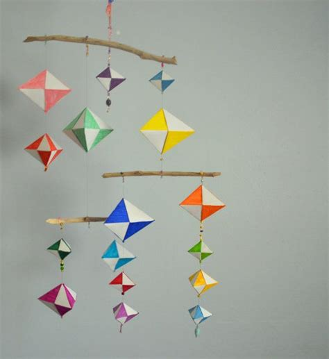 Geometrical Origami - geometric origami mobile ideas diy