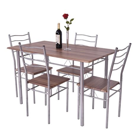 4 chairs 5 piece metal dining table set kitchen room 5 piece dining table set wood metal kitchen breakfast