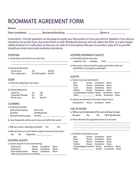 roommate rental agreement template 40 free roommate agreement templates forms word pdf