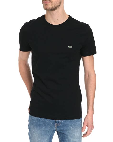 Basic Polo Shirt Lacost Black lacoste basic black t shirt in black for lyst