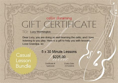 this certificate entitles you to template gift certificate casual lesson bundle cello dreaming