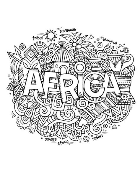free coloring page coloring adult africa abstract symbols