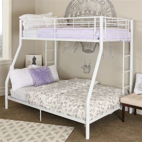 white bunk beds twin over full metal twin over full bunk bed in white finish btodwh