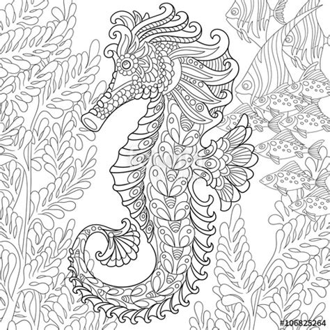 quot zentangle stylized cartoon seahorse and tropical fish