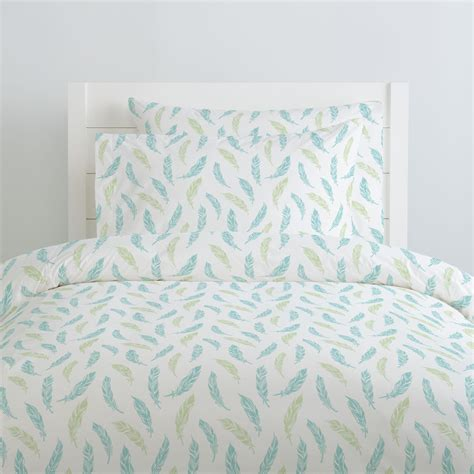 pastel comforters seafoam aqua and pastel green hand drawn feathers duvet