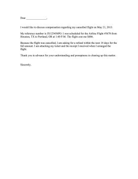 cancelled flight complaint letter