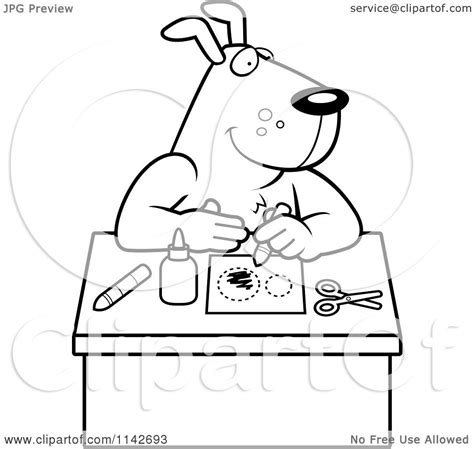 cartoon clipart of a black and white arts and crafts dog