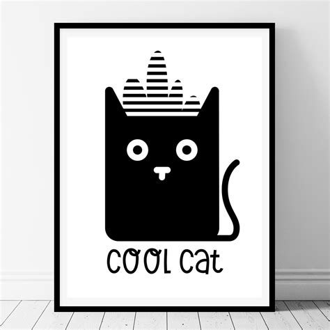free printable wall art cat cool cat printable kids wall art belivindesign