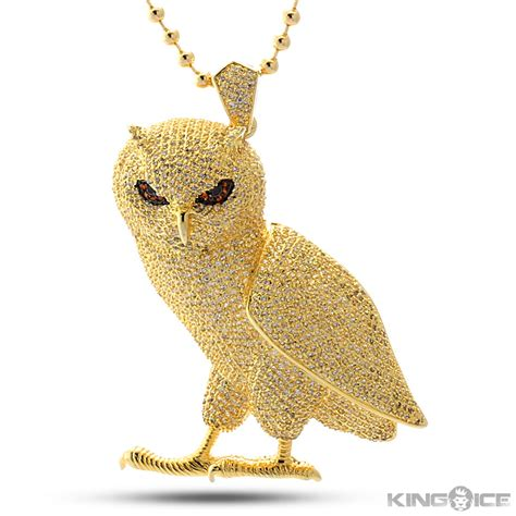 Owl Gold king gold cz owl pendant hip hop ovo jewelry
