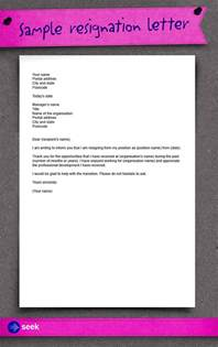 Resignation Letter Seek resignation letter how to write a resignation letter career advice hub seek