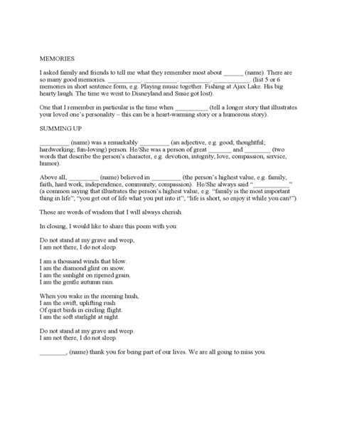 Eulogy Template by Eulogy Template Free