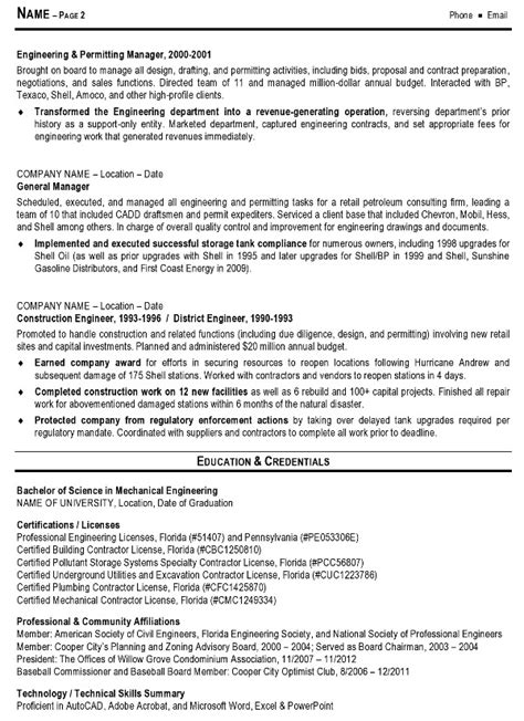Resume Template Engineering by Resume Sle 10 Engineering Management Resume Career Resumes