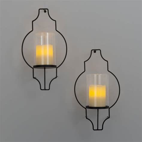 Flameless Candle Wall Sconce Set 2 Lights Flameless Candles Pillar Candles Hurricane Glass Flameless Candle Wall Sconce