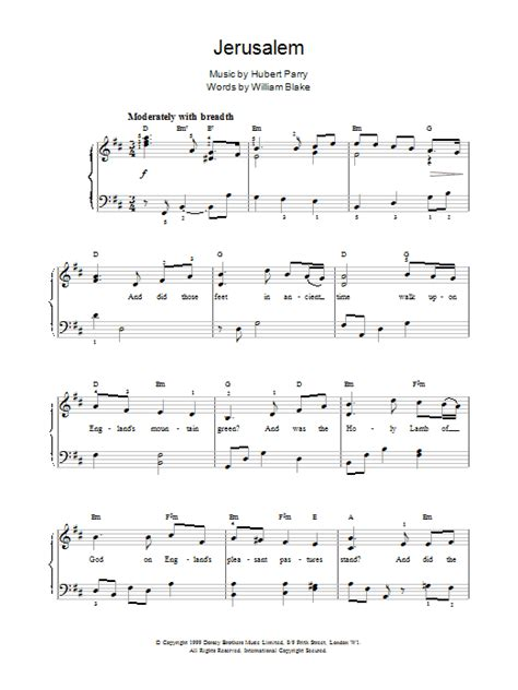 printable jerusalem lyrics jerusalem sheet music direct