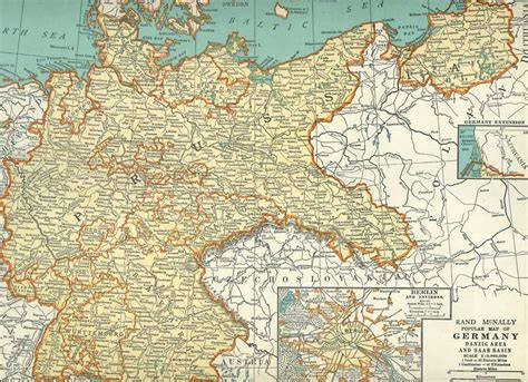 germany 1930 map 1937 vintage map of germany prussia antique 1930s atlas