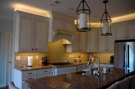 rope lights above cabinets in kitchen kitchen led lighting inspired led traditional