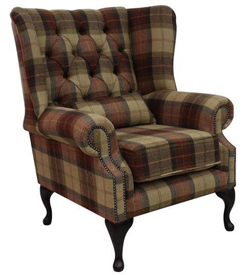 tweed arm chair chesterfield regent wool tweed wing chair fireside high